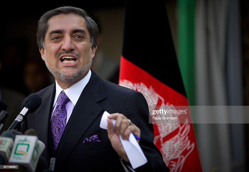 Former Presidential challenger <a gi-track='captionPersonalityLinkClicked' href=/galleries/search?phrase=Abdullah+Abdullah&family=editorial&specificpeople=695346 ng-click='$event.stopPropagation()'>Abdullah Abdullah</a> speaks to the media during a press conference at his home on November 4, 2009 in Kabul, Afghanistan. Abdullah was the main opposition candidate but withdrew from the November 7th run-off, handing Mr Karzai a second term. Abdullah spoke to the media today to say that Karzai's government lacks legitimacy because of the controversial election process that declared Mr. Karzai the winner by default.