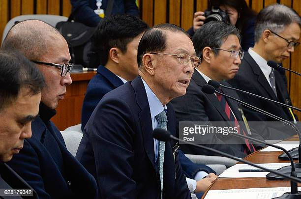 Former presidential chief of staff Kim KiChoon attends at parliamentary hearing of the probe in Choi Soonsil gate at the National Assembly on...