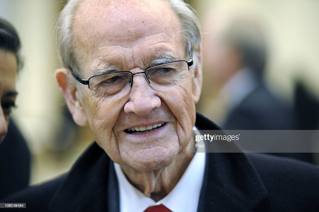 Former presidential nominee and Sen. <a gi-track='captionPersonalityLinkClicked' href=/galleries/search?phrase=George+McGovern&family=editorial&specificpeople=216554 ng-click='$event.stopPropagation()'>George McGovern</a> arrives during the funeral service for Sargent Shriver at Our Lady of Mercy Catholic Church January 22, 2011 in Potomac, Maryland. Robert Sargent Shriver Jr., a politician and activist who was the first leader of the Peace Corps and was involved in other social programs, died this week at the age of 95.