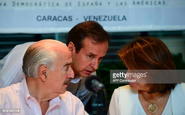 Former presidents Andres Pastrana of Colombia Jorge Quiroga of Bolivia and Laura Chinchilla of Costa Rica invited by the Venezuelan opposition to act...