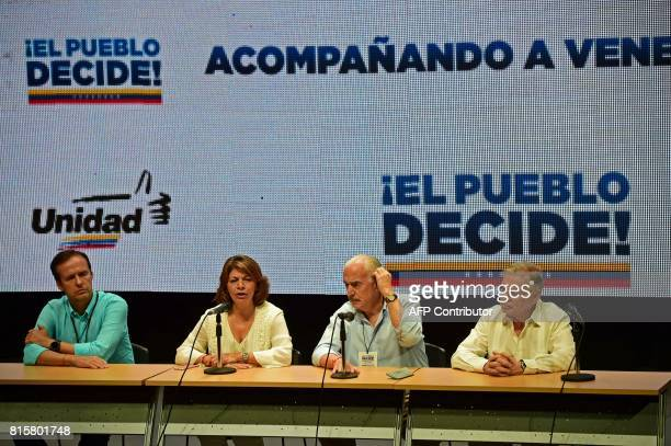 Former Presidents Jorge Quiroga of Bolivia Laura Chinchilla of Costa Rica Andres Pastrana of Colombia and Miguel Angel Rodriguez of Costa Rica...