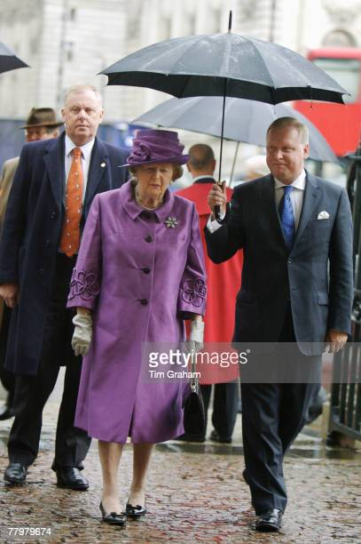 Former Prime Minister Baroness Margaret Thatcher attends a service of thanksgiving at Westminster Abbey to celebrate the Queen and Prince Philip's...