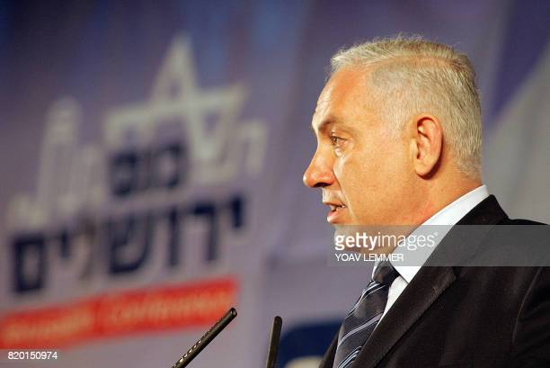 Former prime minister Benjamin Netanyahu and leader of the rightwing Likud party gives a campaign speech to supporters in Jerusalem 21 March 2006...