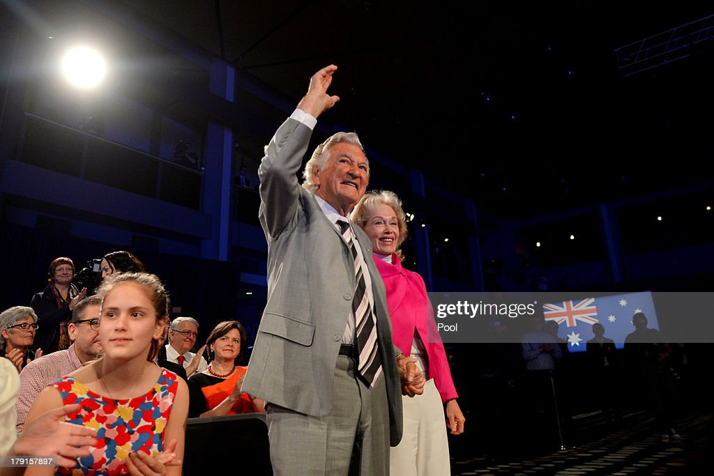 Former Prime Minister <a gi-track='captionPersonalityLinkClicked' href=/galleries/search?phrase=Bob+Hawke&family=editorial&specificpeople=158023 ng-click='$event.stopPropagation()'>Bob Hawke</a> is welcomed during the Labor party campaign launch at the Brisbane Convention and Exhibition Centre on September 1, 2013 in Brisbane, Australia. The incumbent centre-left Australian Labor Party has trailed the conservative Liberal-National Party coalition for the first four weeks of the campaign, and most pollsters give them little hope of retaining government. Australians head to the polls this Saturday, September 7.