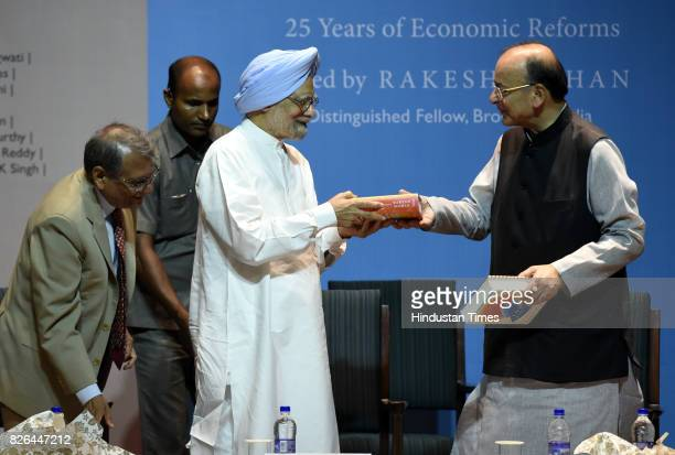 Former Prime Minister Dr Manmohan Singh and Union Finance Minister Arun Jaitley with Rakesh Mohan Launched a Book India Transformed 25 years Economic...