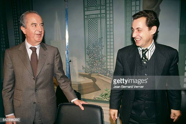 Former Prime Minister Edouard Balladur and former Minister of Budget and government's spokesman Nicolas Sarkozy attend the Rally for the Republic at...