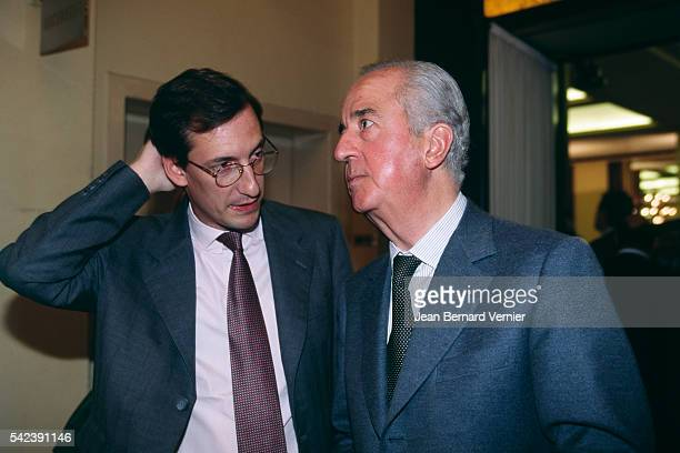 Former Prime Minister Edouard Balladur with his chef of staff Nicolas Bazire during his conference 'Reasons to Hope'