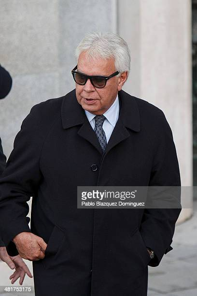 Former prime minister Felipe Gonzalez leaves the state funeral ceremony for former Spanish prime minister Adolfo Suarez at the Almudena Cathedral on...