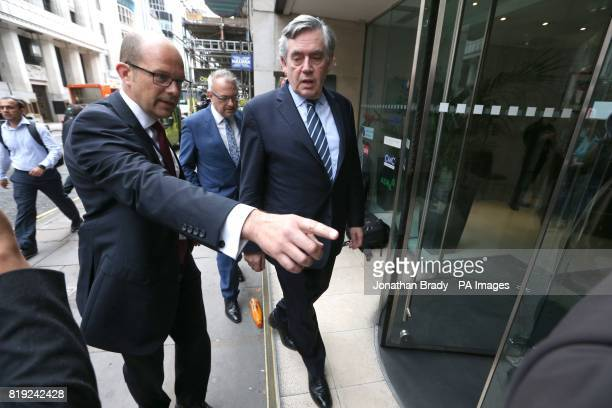 Former Prime Minister Gordon Brown arrives at the International Dispute Resolution Centre in London to give evidence to the Independent Inquiry into...