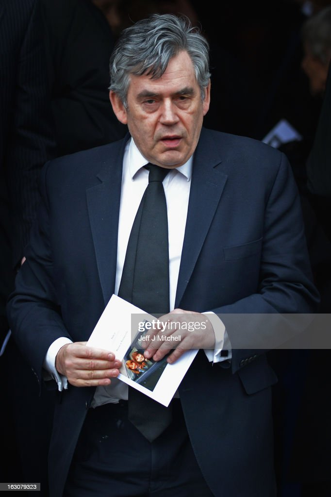 Former Prime Minister <a gi-track='captionPersonalityLinkClicked' href=/galleries/search?phrase=Gordon+Brown&family=editorial&specificpeople=158992 ng-click='$event.stopPropagation()'>Gordon Brown</a> attends the memorial service of former Scottish Secretary and European Commissioner Bruce Millan at Govan Parish Church on March 4, 2013 in Glasgow, Scotland. Bruce Millan died on February 21, aged 85, after having been recently diagnosed with cancer.