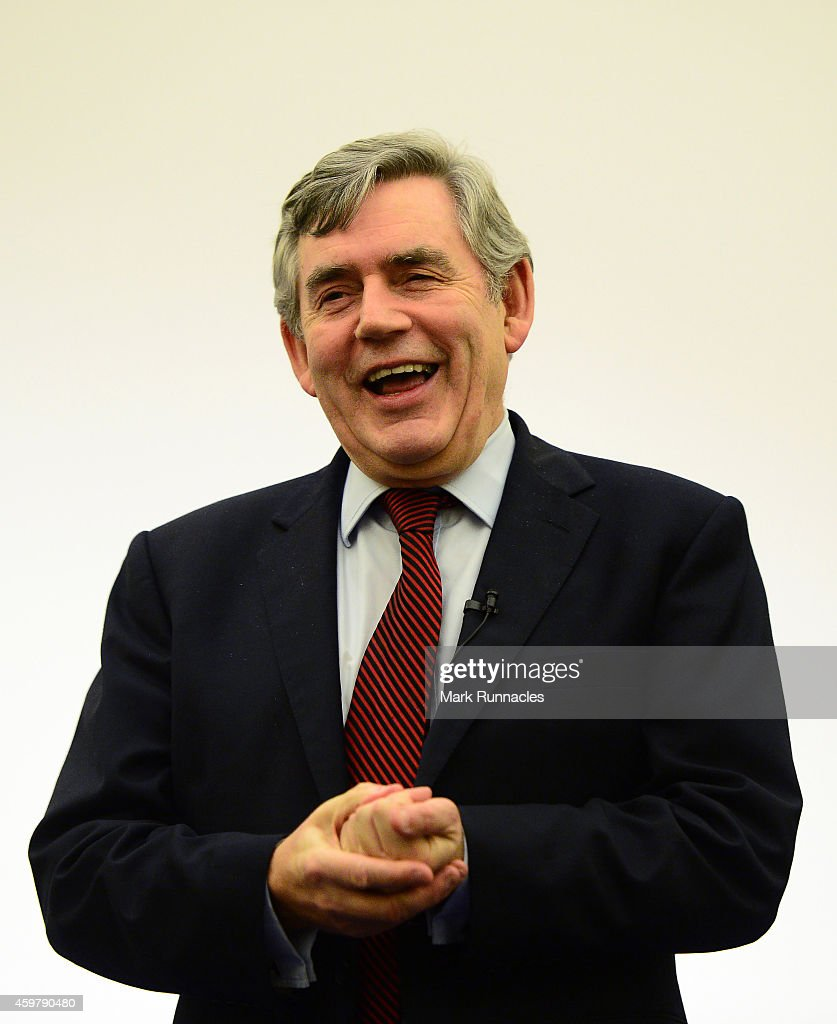 Former Prime Minister <a gi-track='captionPersonalityLinkClicked' href=/galleries/search?phrase=Gordon+Brown&family=editorial&specificpeople=158992 ng-click='$event.stopPropagation()'>Gordon Brown</a> speaks during a press conference to announce he is standing down as an MP, at The Kirkcaldy Old Kirk Trust on December 1, 2014 in Kirkcaldy Scotland.
