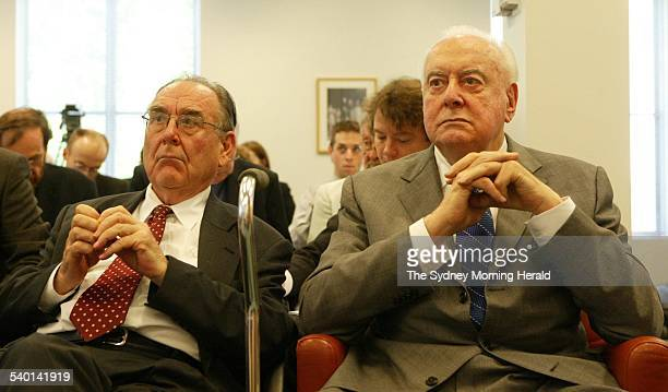 Former Prime Minister Gough Whitlam right with speechwriter Graham Freudenberg before briefing the media at the Release of Cabinet Documents from the...