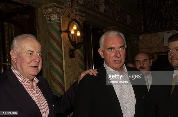 Former Prime Minister Gough Whitlam with son Nicholas at the opening night of the rock musical 'Hair' at the Capitol Theatre in Sydney