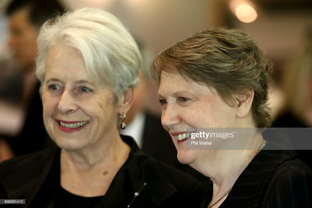 Former Prime Minister Helen Clark (L) and Former Governor General Dame Silvia Cartwright (L) at a state luncheon for Croatian President Kolinda Grabar-Kitarovicon at Government House August 19, 2017 in Auckland, New Zealand. President Kolinda Grabar-Kitarovic is on a four day visit to New Zealand.