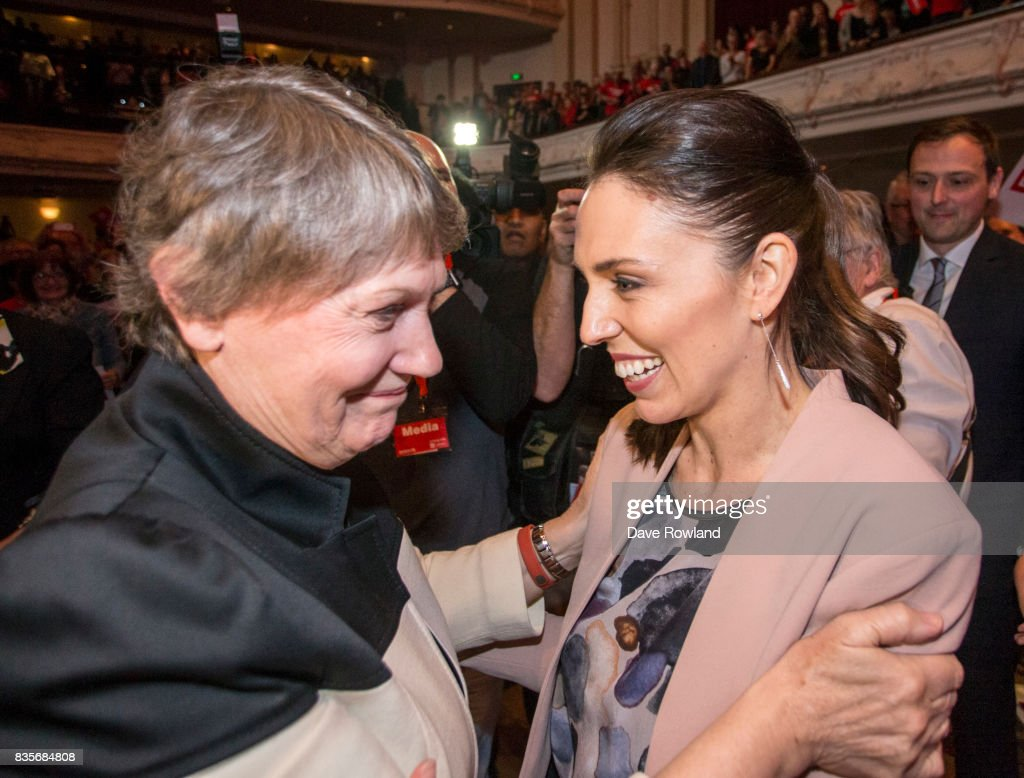 Former Prime Minister Helen Clark is greeted by Jacinda Ardern, Leader of the Labour Party & MP for Mt Albert at the party campaign launch on August 20, 2017 in Auckland, New Zealand. The New Zealand general election will be held on September 23, 2017.