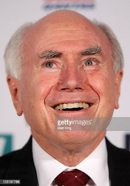 Former Prime Minister John Howard arrives at the 2011 John Eales Medal at Luna Park's Big Top on September 1 2011 in Sydney Australia