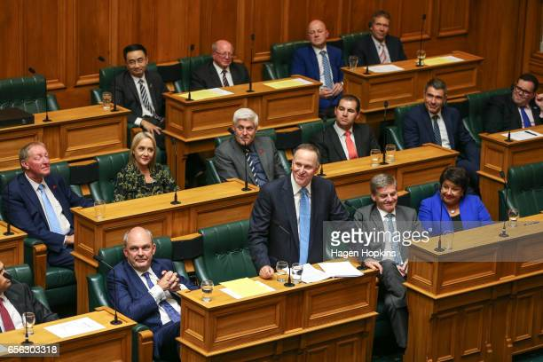 Former Prime Minister John Key delivers his farewell speech at Parliament on March 22 2017 in Wellington New Zealand John Key's final day in...