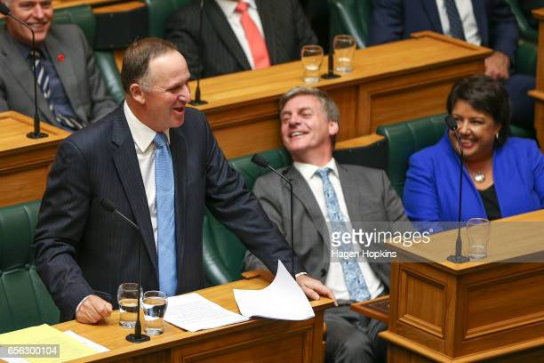Former Prime Minister John Key delivers his farewell speech while current Prime Minister Bill English and deputy Paula Bennett look on at Parliament...