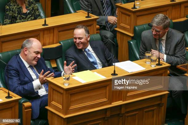 Former Prime Minister John Key enjoys a laugh with MP Steven Joyce and current Prime Minister Bill English prior to delivering his farewell speech at...