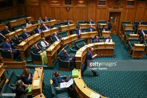 Former Prime Minister John Key enters the house prior to delivering his farewell speech at Parliament on March 22 2017 in Wellington New Zealand John...