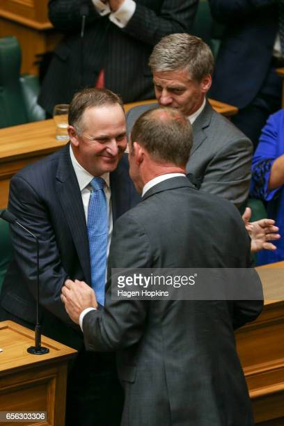 Former Prime Minister John Key is shakes hands with Labour leader Andrew Little after delivering his farewell speech at Parliament on March 22 2017...