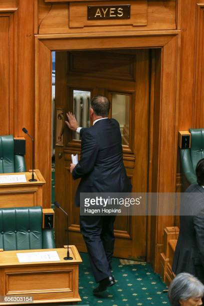 Former Prime Minister John Key leaves the house after delivering his farewell speech at Parliament on March 22 2017 in Wellington New Zealand John...