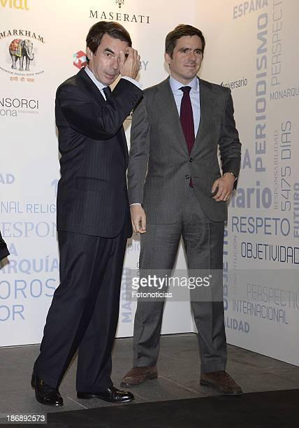 Former Prime Minister Jose Maria Aznar and his son Jose Maria Aznar Jr attend 'La Razon' newspaper 15th anniversary party on November 4 2013 in...