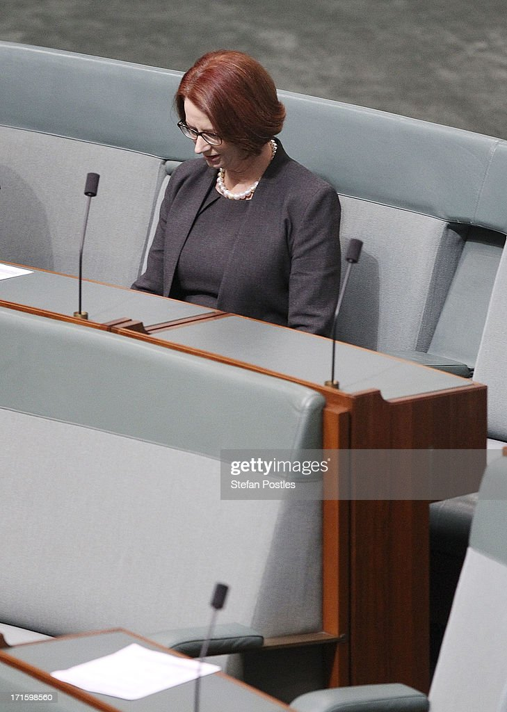 Former Prime Minister <a gi-track='captionPersonalityLinkClicked' href=/galleries/search?phrase=Julia+Gillard&family=editorial&specificpeople=787281 ng-click='$event.stopPropagation()'>Julia Gillard</a> sits on the backbench during House of Representatives question time on June 27, 2013 in Canberra, Australia. Kevin Rudd won an Australian Labor Party leadership ballot 57-45 last night, and will be sworn in this morning as Australian Prime Minister by Governor-General Quentin Bryce. Rudd was Prime Minister from 2007 to 2010 before he was dumped by his party for his deputy <a gi-track='captionPersonalityLinkClicked' href=/galleries/search?phrase=Julia+Gillard&family=editorial&specificpeople=787281 ng-click='$event.stopPropagation()'>Julia Gillard</a>. Gillard has announced that she will leave parliament and not contest her seat following her ballot loss.