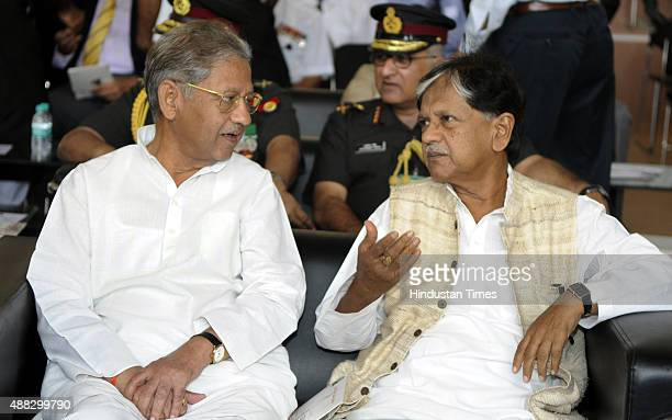 Former Prime Minister Lal Bahadur Shastri's sons Sunil Shastri and Anil Shastri during the Shauryanjali an exhibition commemorating India and...