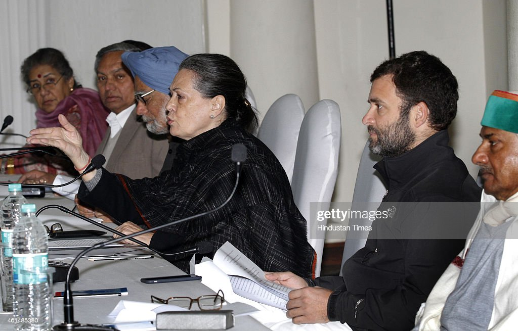 Former Prime Minister <a gi-track='captionPersonalityLinkClicked' href=/galleries/search?phrase=Manmohan+Singh&family=editorial&specificpeople=227120 ng-click='$event.stopPropagation()'>Manmohan Singh</a>, Congress President <a gi-track='captionPersonalityLinkClicked' href=/galleries/search?phrase=Sonia+Gandhi&family=editorial&specificpeople=2287581 ng-click='$event.stopPropagation()'>Sonia Gandhi</a> and Vice President <a gi-track='captionPersonalityLinkClicked' href=/galleries/search?phrase=Rahul+Gandhi&family=editorial&specificpeople=171802 ng-click='$event.stopPropagation()'>Rahul Gandhi</a> during CWC meeting at AICC HQ on January 13, 2015 in New Delhi, India. The Congress strongly criticised the Narendra Modi government for taking the ordinance route and bypassing parliament on all crucial matters.