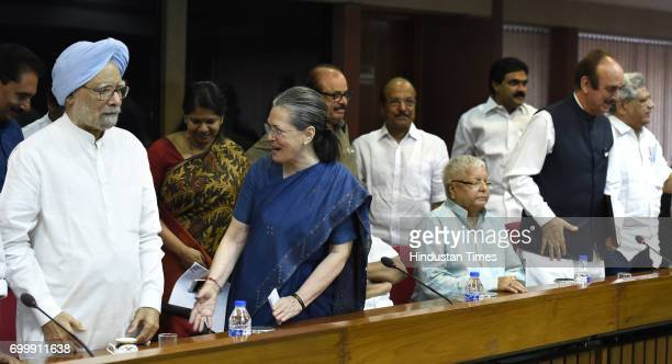 Former Prime Minister Manmohan Singh Congress President Sonia Gandhi RJD leader Lalu Prasad and others during all opposition party meeting to decide...