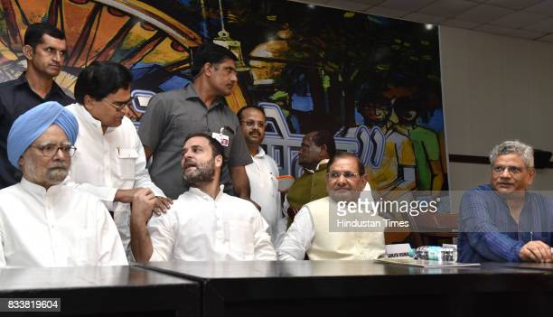 Former Prime Minister Manmohan Singh Congress Vice President Rahul Gandhi with Sharad Yadav and Samajwadi party leader Prof Ram Gopal Yadav Left...
