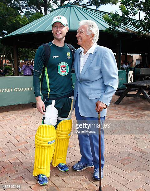 Former Prime Minister of Australia Bob Hawke poses for a picture with Australian cricket player Michael Clarke during an Australian nets session at...