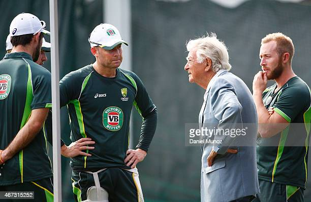 Former Prime Minister of Australia Bob Hawke talks to Australian cricket player Michael Clarke during an Australian nets session at Sydney Cricket...