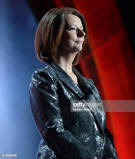 Former Prime Minister of Australia Julia Gillard presents onstage at the 2016 Global Citizen Festival ro End Extreme Poverty by 2030 at Central Park...