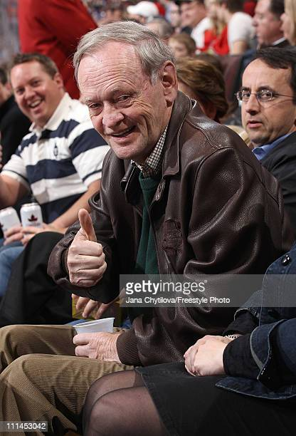 Former Prime Minister of Canada Jean Chretien gives i thumbs up in a game with the Ottawa Senators taking on the Toronto Maple Leafs at Scotiabank...