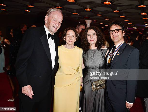 Former Prime Minister of Canada Jean Chretien with wife Aline Chretien Arsinee Khanjian and director Atom Egoyan attend the Governor General's...