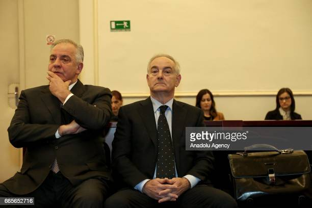 Former Prime Minister of Croatia Ivo Sanader and defendant Mladen Minarevic appear at a verdict hearing into Planinska case at Canton Court in Zagreb...