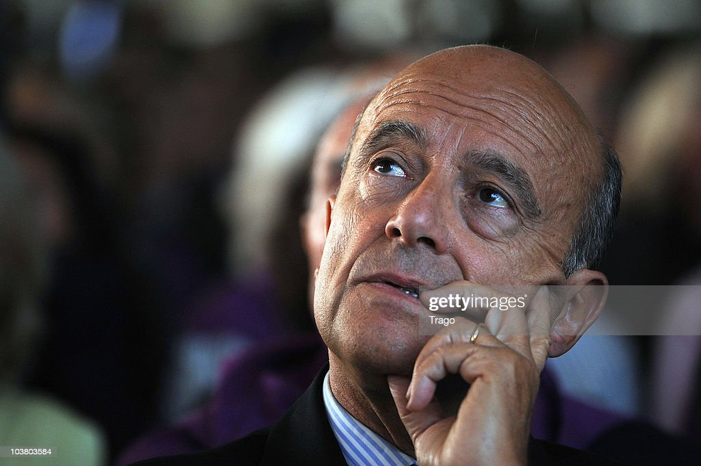 Former Prime Minister of France and Mayor of Bordeaux <a gi-track='captionPersonalityLinkClicked' href=/galleries/search?phrase=Alain+Juppe&family=editorial&specificpeople=235359 ng-click='$event.stopPropagation()'>Alain Juppe</a> attends the Mouvement des Entreprises de France (MEDEF) Summer University conference on September 2, 2010 in Jouy-en-Josas, France. The MEDEF, the largest employers union in France, met as the government has proposed raising the age of eligibility for a full pension from 65 to 67.
