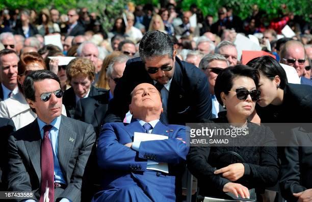 Former Prime Minister of Italy Silvio Berlusconi attends the George W Bush Presidential Center dedication ceremony in Dallas Texas on April 25 2013...