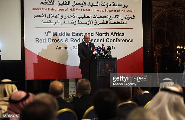 Former Prime Minister of Jordan Faisal AlFayez delivers a speech during the 9th Executive committee of the International Red Cross and Red Crescent...