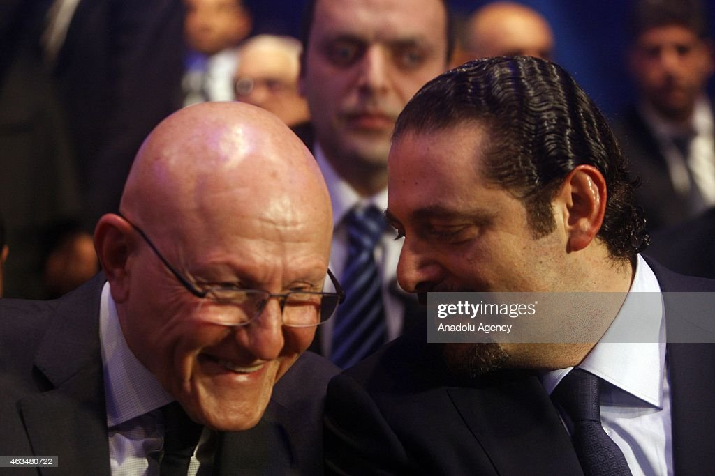 Former Prime Minister of Lebanon Saad Hariri (R), son of Rafic Hariri, and new Lebanese Prime Minister <a gi-track='captionPersonalityLinkClicked' href=/galleries/search?phrase=Tammam+Salam&family=editorial&specificpeople=5769198 ng-click='$event.stopPropagation()'>Tammam Salam</a> (L) attend to mark the tenth anniversary of the assassination of the former PM Rafic Hariri, in Lebanon, Beirut on February 14, 2015.