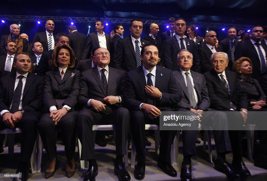 Former Prime Minister of Lebanon Saad Hariri (C), son of Rafic Hariri, new Lebanese Prime Minister <a gi-track='captionPersonalityLinkClicked' href=/galleries/search?phrase=Tammam+Salam&family=editorial&specificpeople=5769198 ng-click='$event.stopPropagation()'>Tammam Salam</a> (L3) and Lebanese President Michel Suleiman (R3) attend to mark the tenth anniversary of the assassination of the former PM Rafic Hariri, in Lebanon, Beirut on February 14, 2015.