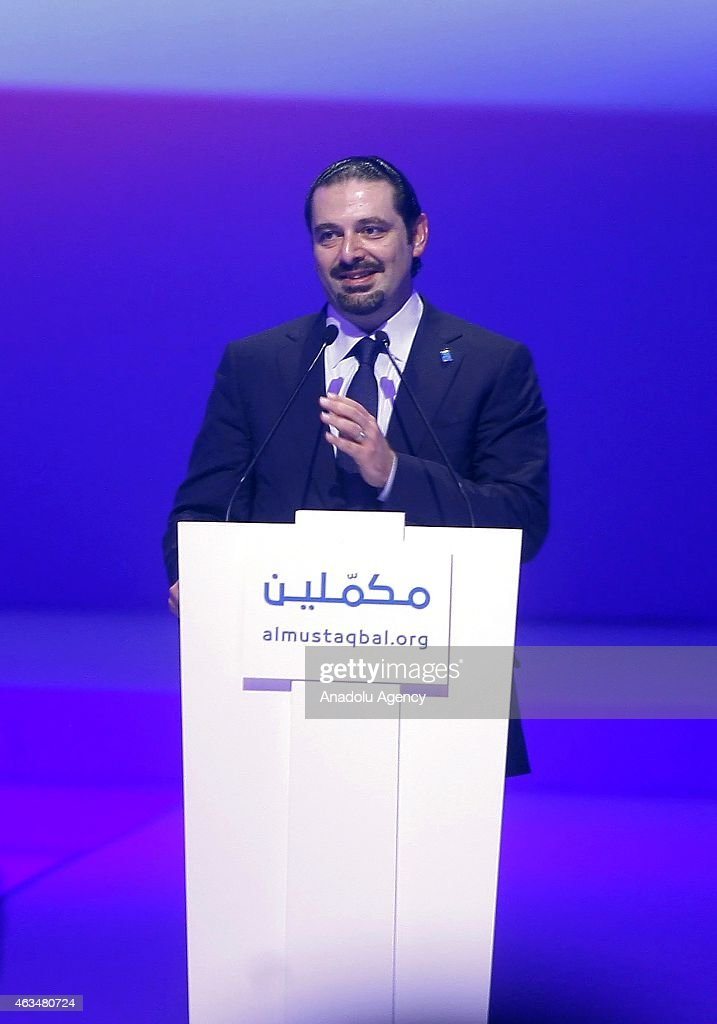 Former Prime Minister of Lebanon Saad Hariri, son of Rafic Hariri, speaks to mark the tenth anniversary of the assassination of the former PM Rafic Hariri, in Lebanon, Beirut on February 14, 2015.