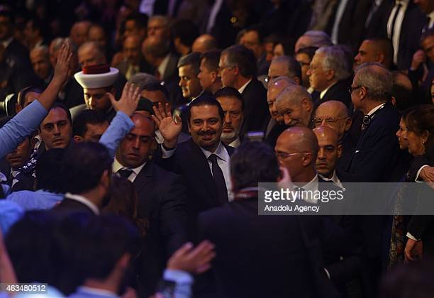 Former Prime Minister of Lebanon Saad Hariri waves the crowd to mark the tenth anniversary of the assassination of the former PM Rafic Hariri in...