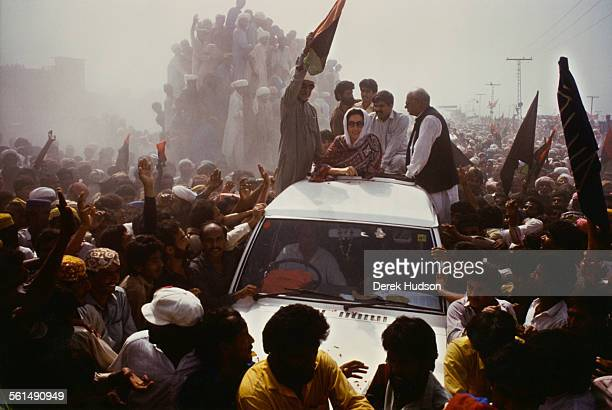 Former Prime Minister of Pakistan Benazir Bhutto campaigning for the Pakistan Peoples Party in the week before the Pakistani General Election...