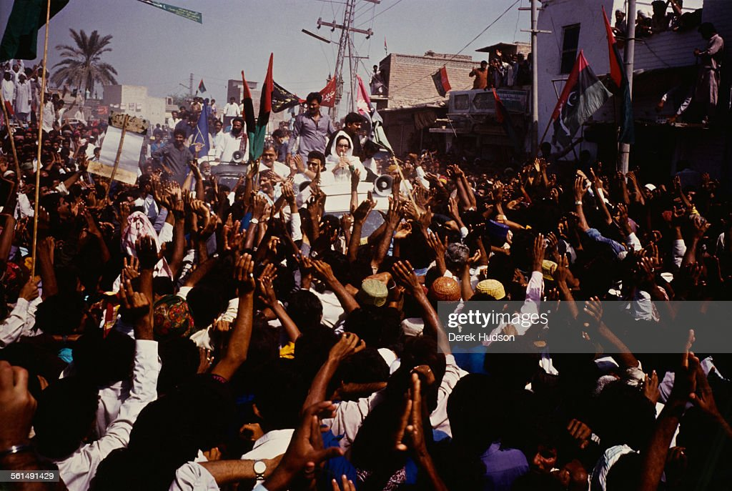 Former Prime Minister of Pakistan, Benazir Bhutto (1953 - 2007) campaigning for the Pakistan Peoples Party (PPP) in the week before the Pakistani General Election, Pakistan, 15-16th October 1990.