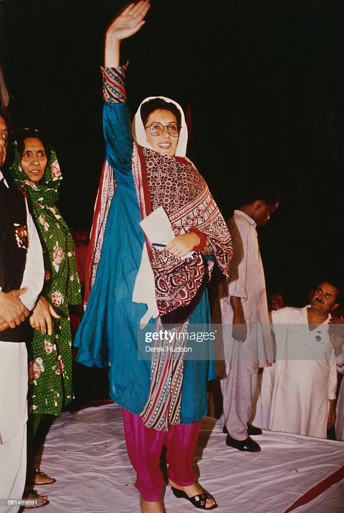 Former Prime Minister of Pakistan, <a gi-track='captionPersonalityLinkClicked' href=/galleries/search?phrase=Benazir+Bhutto&family=editorial&specificpeople=202012 ng-click='$event.stopPropagation()'>Benazir Bhutto</a> (1953 - 2007) denounces the arrest of her husband, Asif Ali Zardari, as part of a plot to discredit the family, in Lyari, a neighbourhood of Karachi, Pakistan, 11th October 1990.