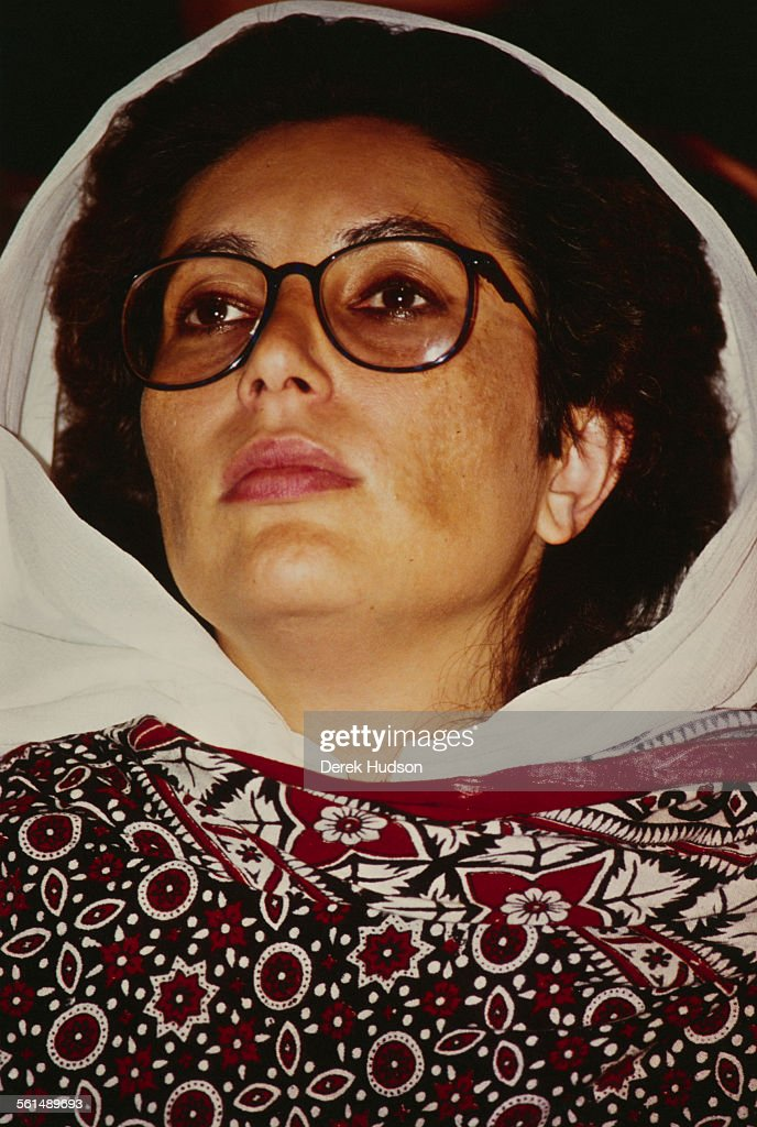 Former Prime Minister of Pakistan, Benazir Bhutto (1953 - 2007) denounces the arrest of her husband, Asif Ali Zardari, as part of a plot to discredit the family, in Lyari, a neighbourhood of Karachi, Pakistan, 11th October 1990.