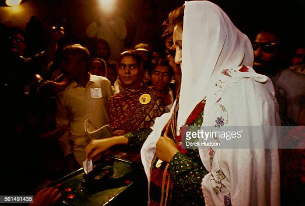 Former Prime Minister of Pakistan Benazir Bhutto leader of the Pakistan Peoples Party voting in the Pakistani General Election Pakistan 24th October...